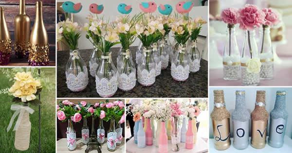 garrafas decoradas com diferentes técnicas