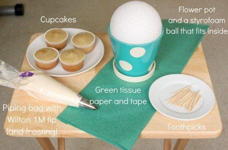 buque de cupcakes materiais