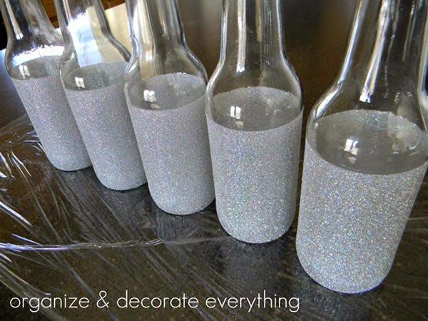 garrafa decorada com glitter