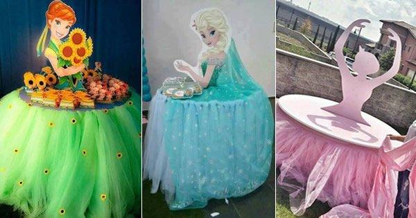 mesas decoradas com tule festa de menina