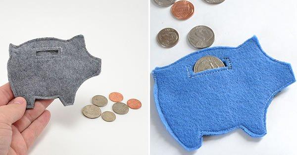 porta-moeda de feltro