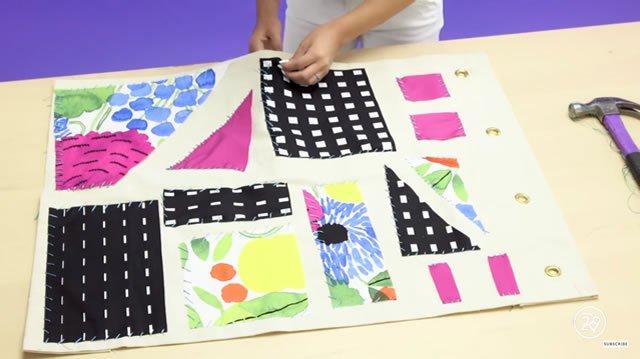 organizador com retalhos de tecido