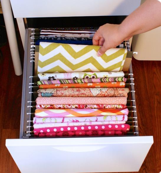 ideia para guardar tecidos