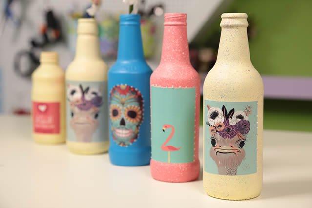 como decorar garrafas de vidro - garrafas prontas