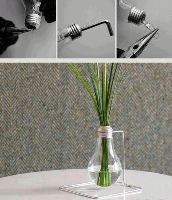 decoração com lâmpadas - vasinhos decorativos