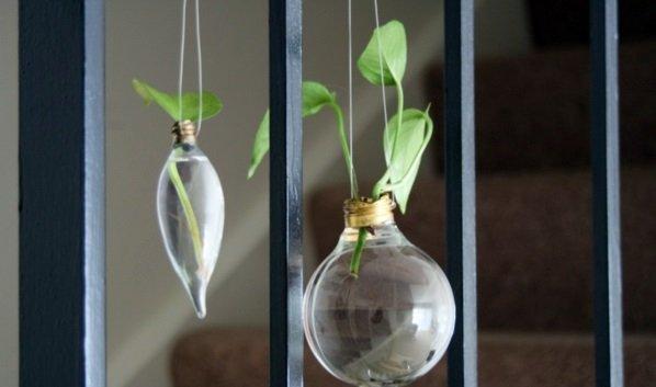 Vasinhos suspensos com lâmpadas