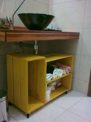 Armário de caixotes para banheiro