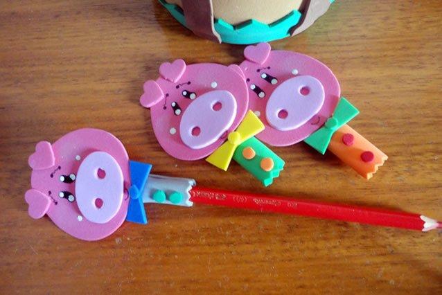 """Ponteiras de lápis """"Os três porquinhos"""""""