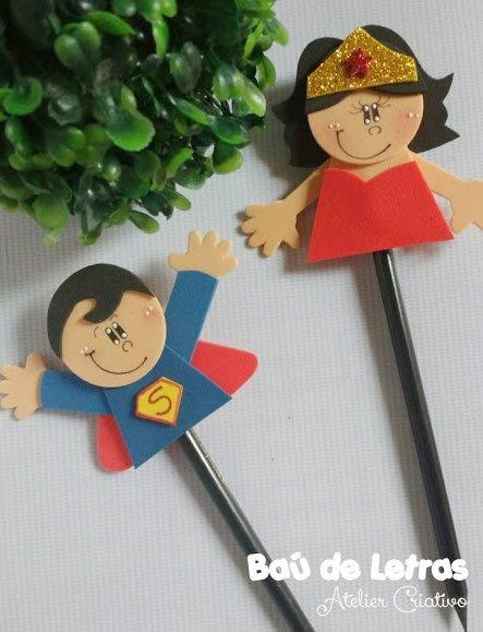 Ponteiras de lápis em EVA super heróis