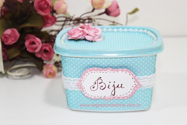 porta jóias de pote de margarina decorado