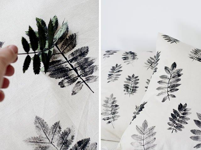 almofadas personalizadas com estampa de folhas