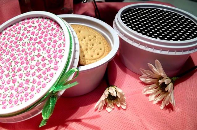 lancheira - pote de margarina decorado