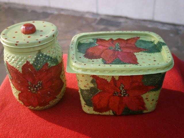 pote de margarina decorado para o natal