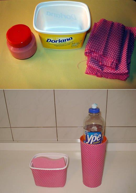 Kit de pia usando pote de margarina