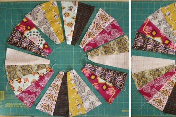 almofada redonda de patchwork