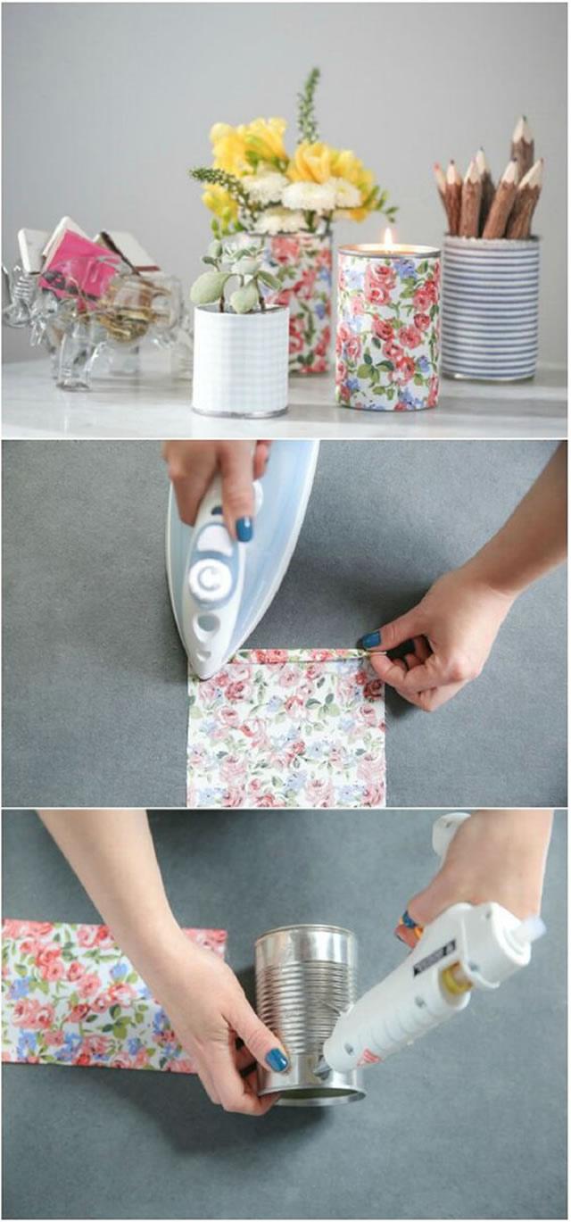 latas decoradas com tecido