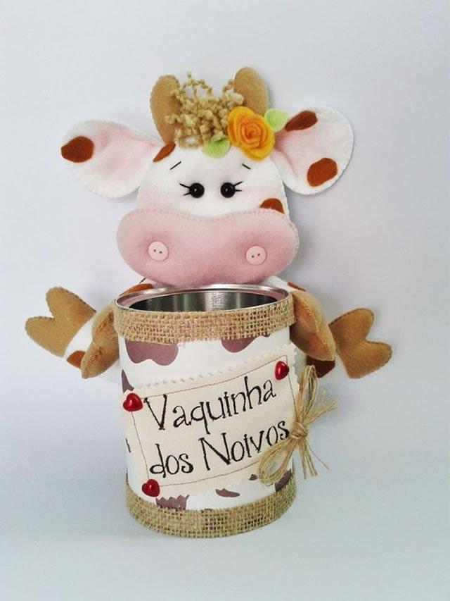 latas decoradas com feltro