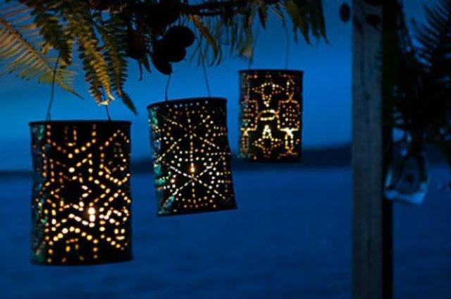 latas decoradas luminária de vela