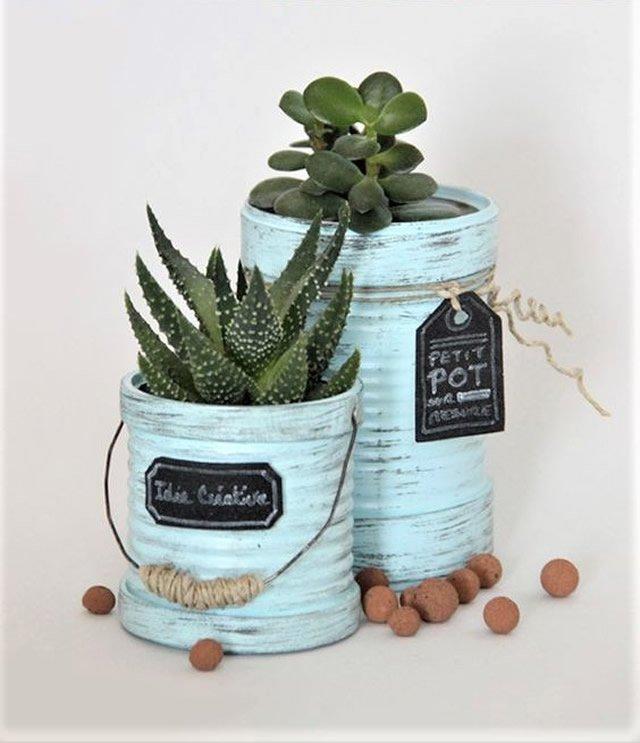 latas decoradas com tinta