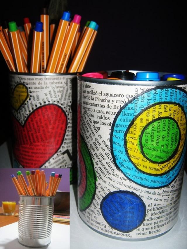latas decoradas com papel