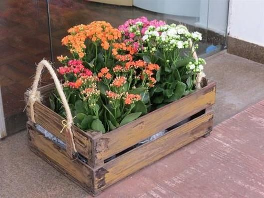 decoração com caixotes de feira