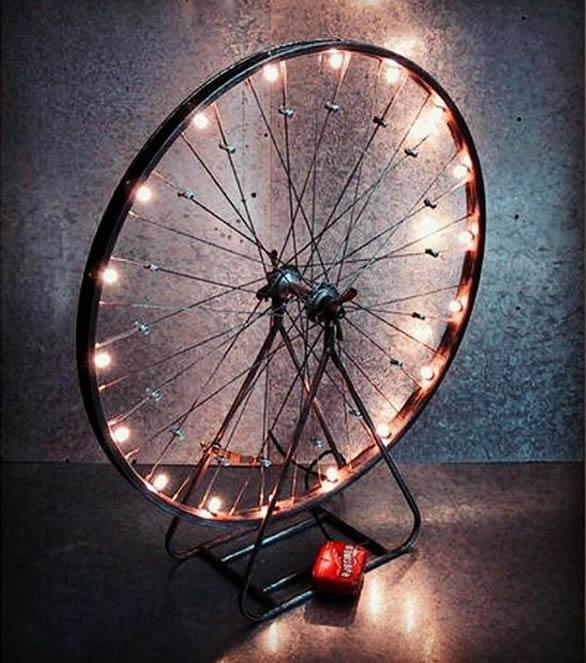 luminária aro de bicicleta