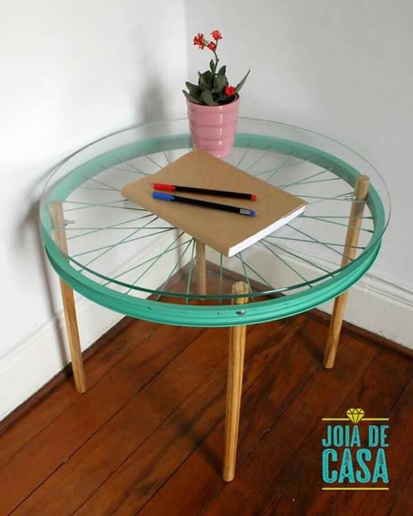 como fazer mesa com roda de bicicleta