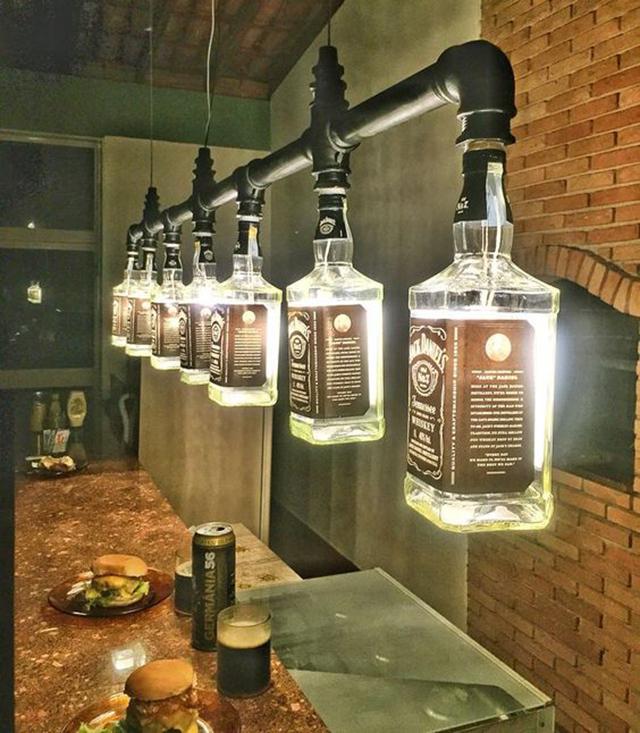 luminárias criativas com garrafas