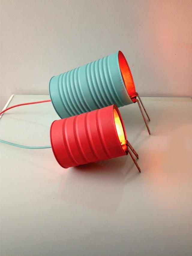 luminárias criativas de lata