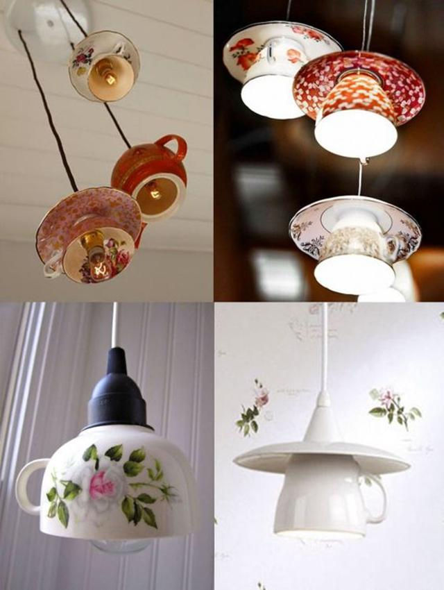 luminárias criativas com xícara