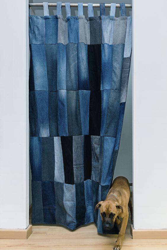 cortina com retalhos jeans