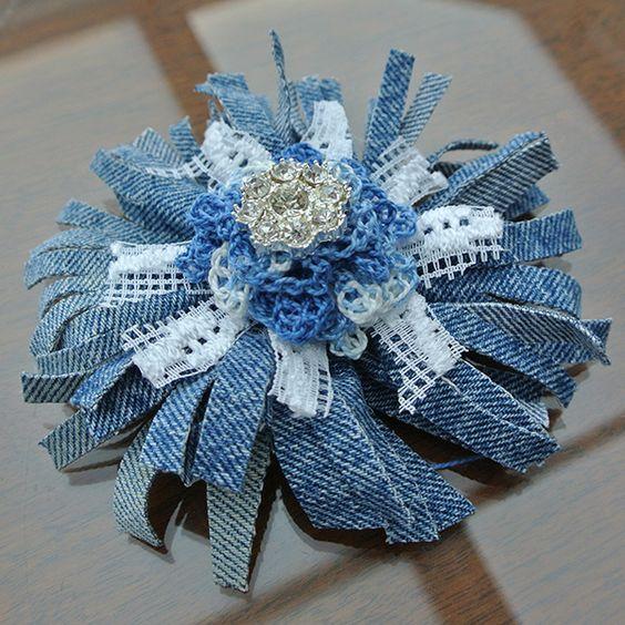 Artesanato com Jeans: flor