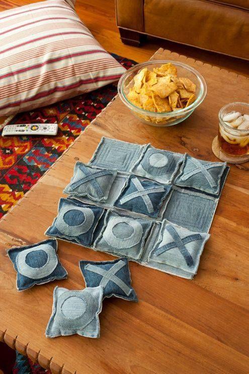 jogo da velha artesanal com tecido jeans