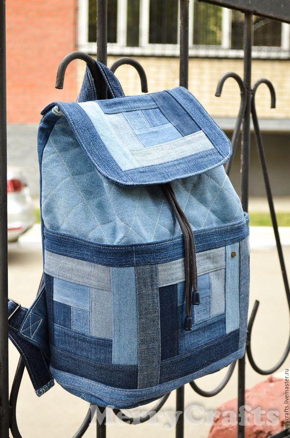 Artesanato com Jeans: mochila com retalhos