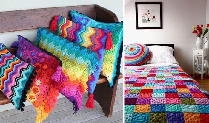 decoração almofadas de crochê