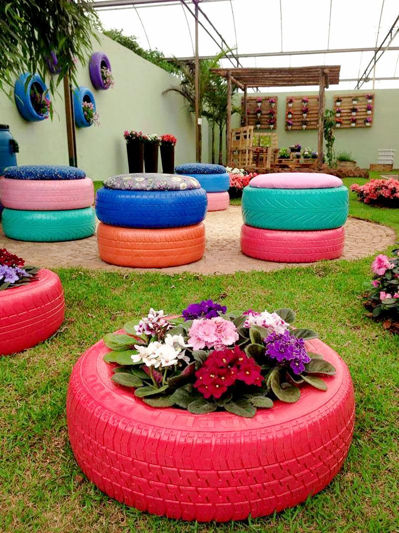 jardim com pneus