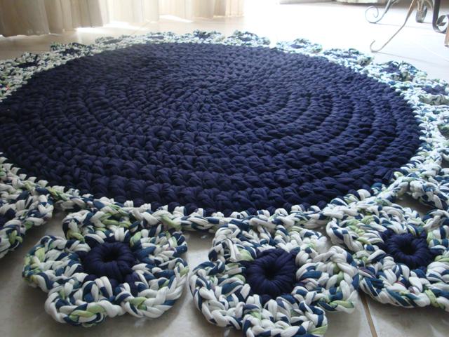tapete de fio de malha artesanato