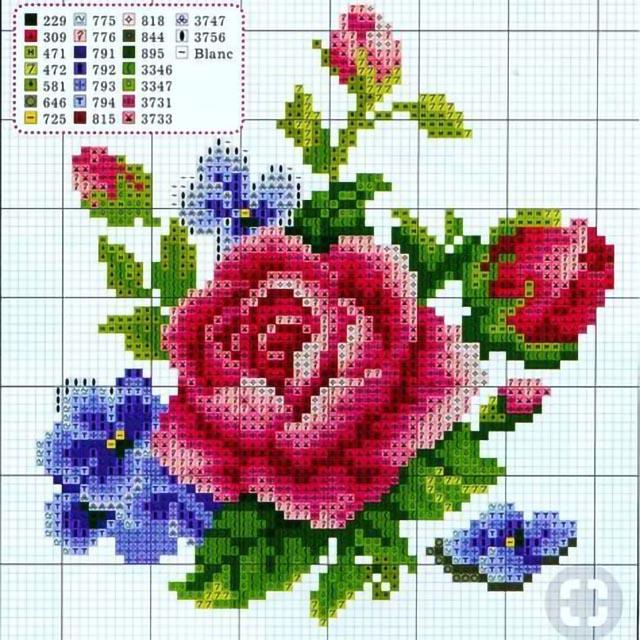 41f701f7cc 55 Gráficos de Flores em Ponto Cruz – Grátis para Baixar