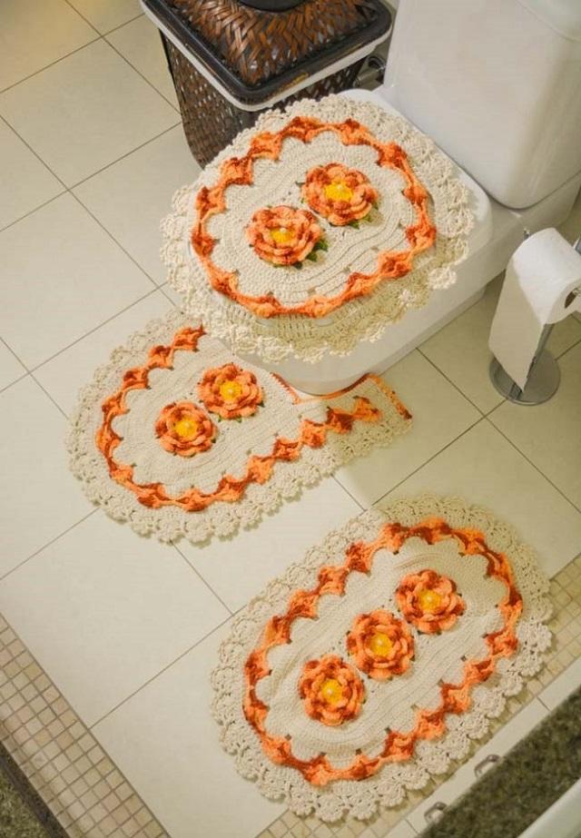 tapete de crochê para banheiro