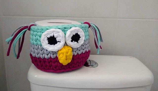 como fazer porta papel higiênico de crochê