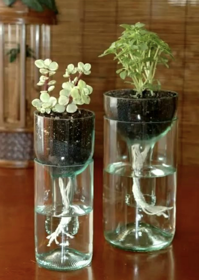 enfeites com garrafa de vidro