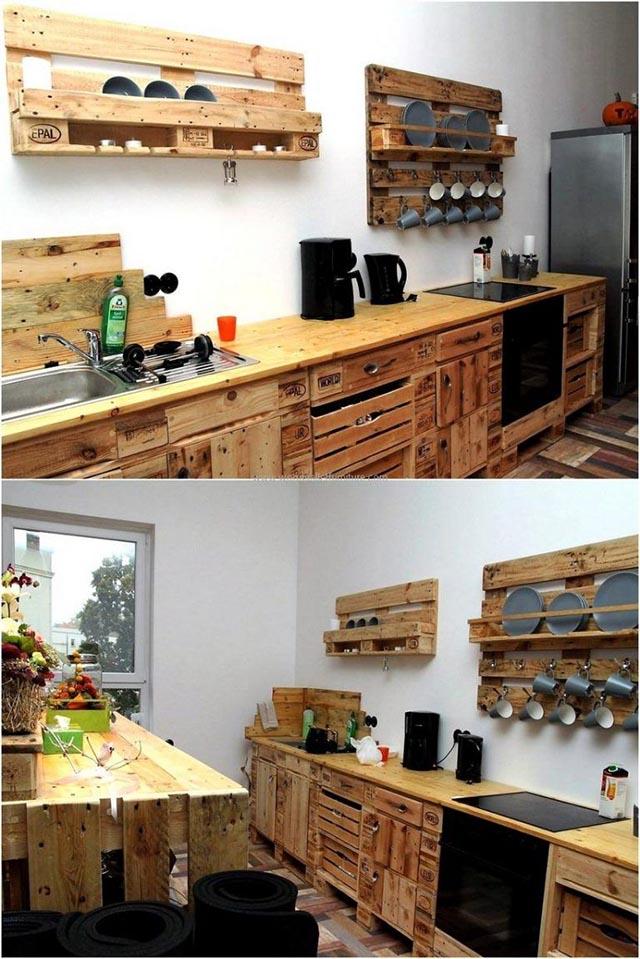 móveis de paletes para a cozinha,