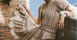 vestido de crochê com gráfico