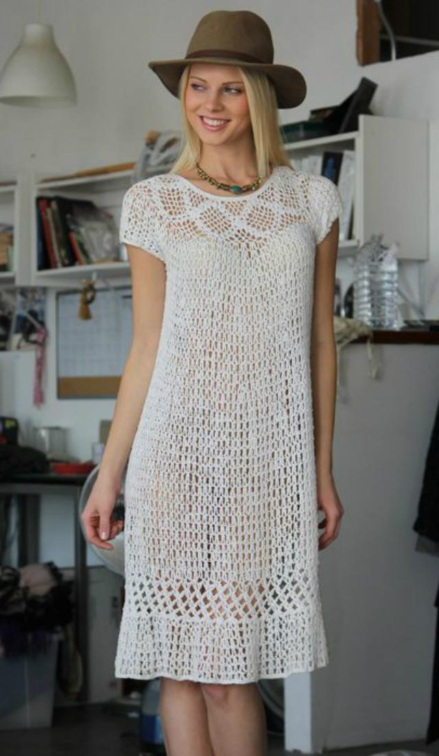 Vestido De Crochê Com Gráfico 37 Fotos Lindas Revista