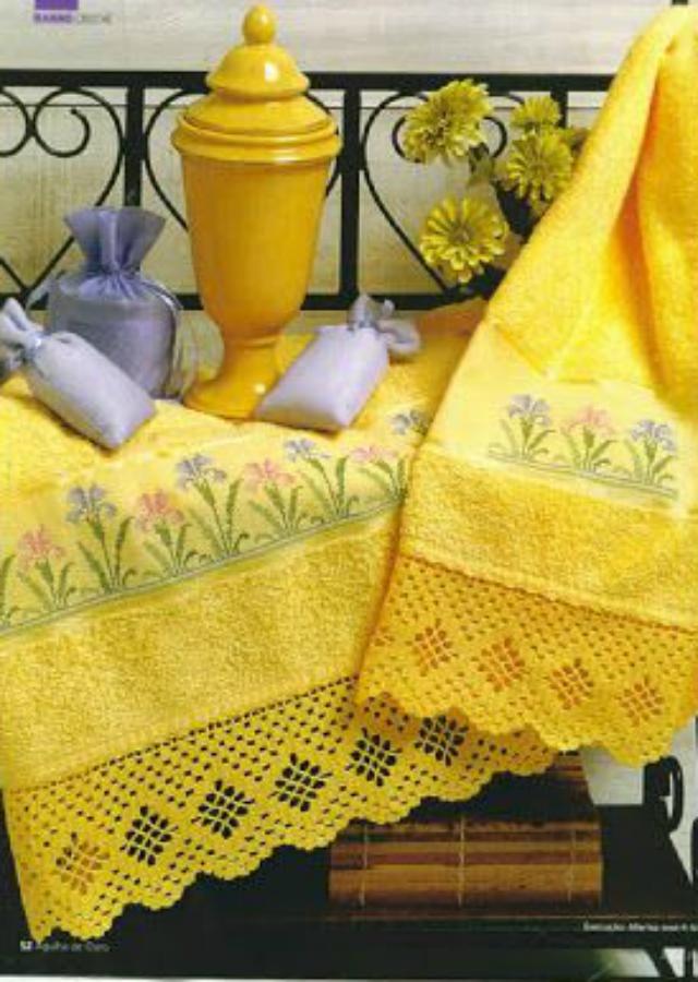 bicos de crochê para toalhas de banho