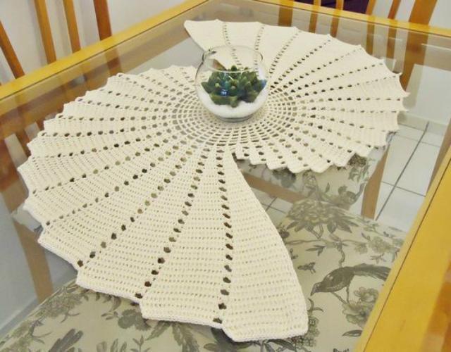 trilho de mesa de crochê