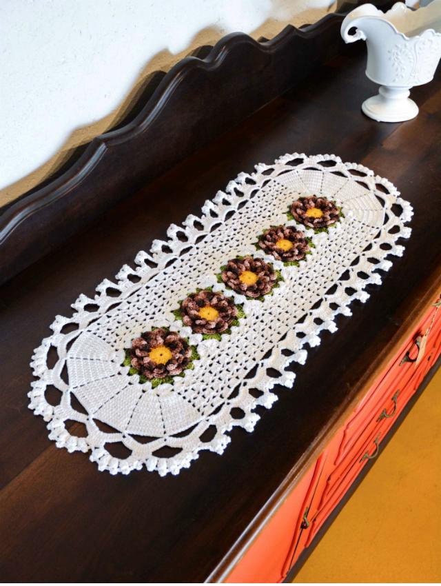 receita de trilho de mesa de crochê