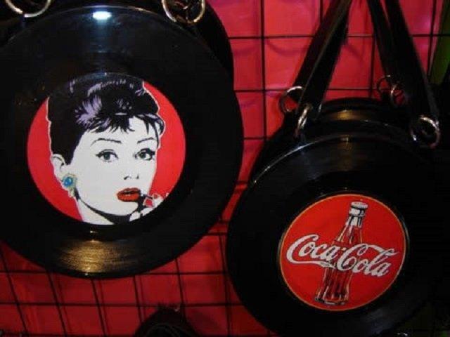 artesanato com CD e disco de vinil