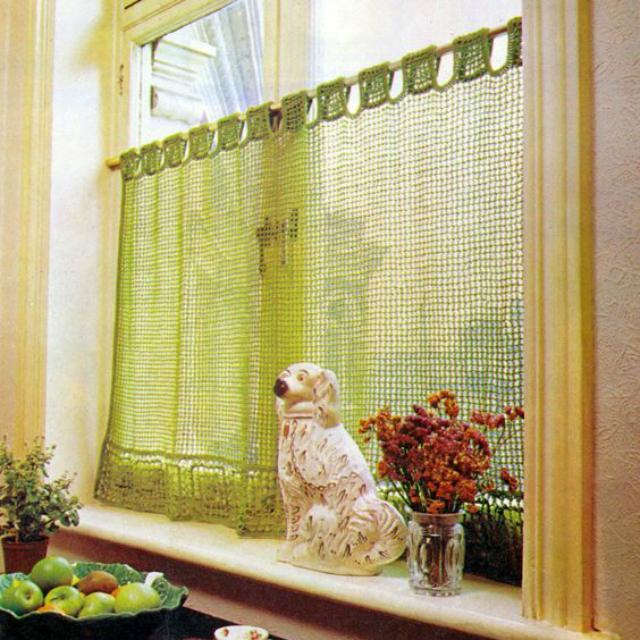 cortina de crochê