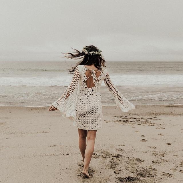 saída de praia de crochê